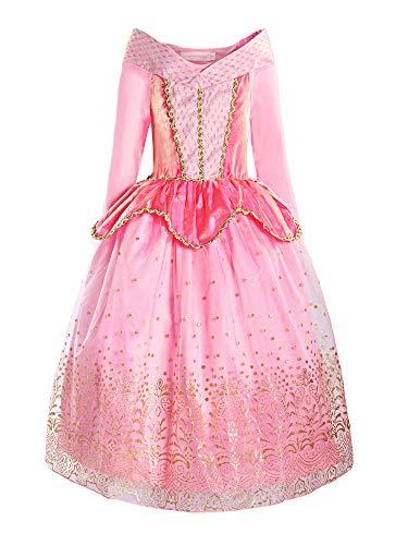 ReliBeauty Mädchen Prinzessin Aurora Kleid Kostüm, Pink, 100-110(Etikett 110)