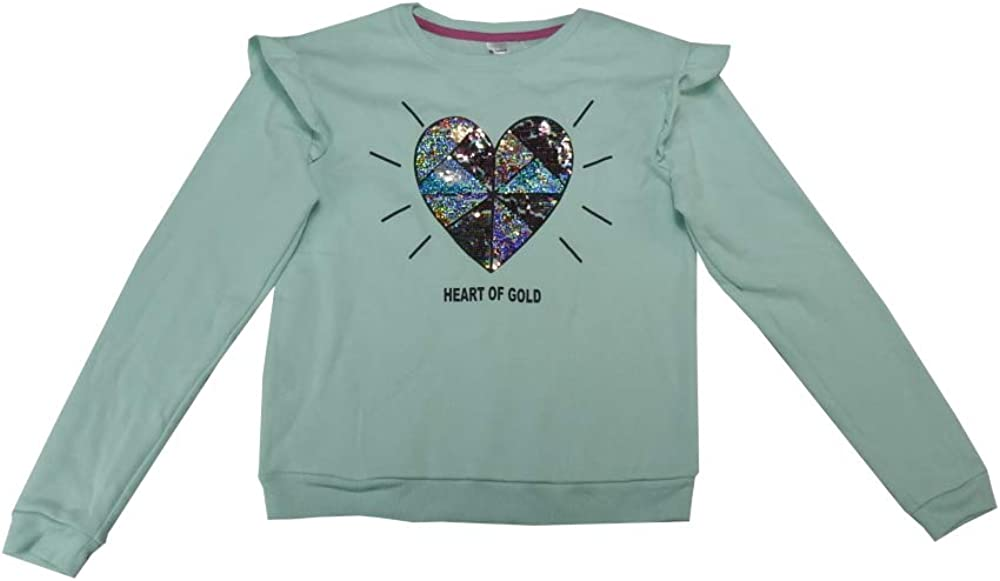 Members Mark Girls Size 14/16 L/S Sequin Heart Pullover Sweater, Multi-Color