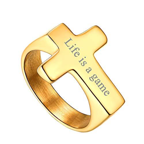 Joyería Religiosa de Cristiana Cruz Clásica Anillo para Dedos Banda