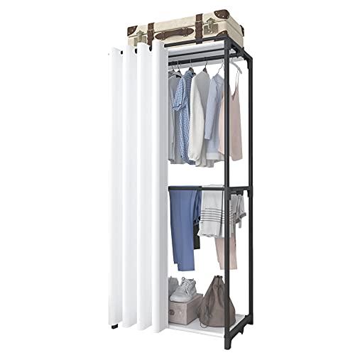 ACCSTORE 3-stöckiger Kleiderschrank, großer Kleiderständer, Kleiderständer, Kleiderständer, Aufbewahrung, Organizer für Schlafzimmer mit Kleiderstange, schwarze Stange, weiß