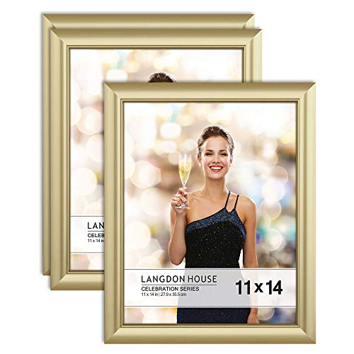 Langdon House 11x14 Picture Frames (Gold, 3 Pack), Contemporary Glam Photo Frames 11 x 14, Wall Mount or Table Top, Celebration Collection