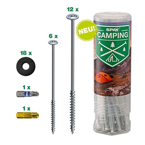 SPAX Zeltschrauben Camping-Komplettset, Universal Schraubheringe 18 Stück in Zwei Längen mit 2 Bits & 18 Kunststoff-Unterlegscheiben für Zeltbefestigung, Outdoor – 4000009100019