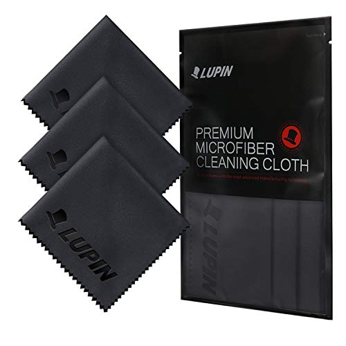 Lupin Microfiber Cleaning Cloths, 3 Pack Premium Ultra Lint Free Polishing Cloth for Cell Phone, Tablets, Laptops, iPad, Glasses, Camera Lens, TV Screens & Other Delicate Surfaces - Black