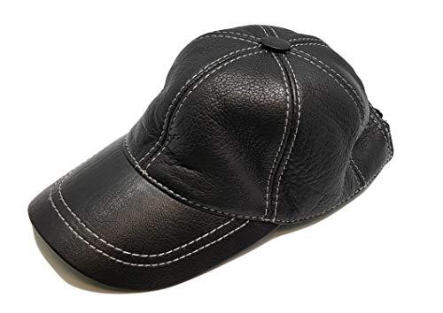 Neu Herren Damen Leder Baseball Caps Hut Hiphop-Mütze Echtes weiches Leder Beiläufig Draussen Klettverschluss Einstellbar (Schwarz-Weiß)