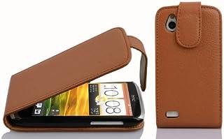 Cadorabo DE-100106 HTC Desire X Mobile Phone Case Textured Faux Leather Flip Design Brown
