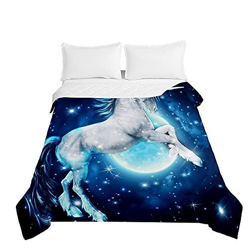 Unicornio Colcha de Verano Cubrecama Colcha Bouti, Chickwin 3D Estampada Edredón Manta de Dormitorio Suave Ligero Multiuso Colchas para Cama Infantil Individual Matrimonio (Estrellas Luna,230x260cm)