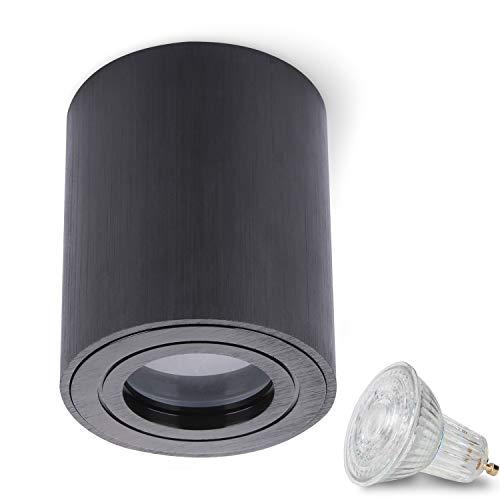 JVS Aufbauleuchte Aufbaustrahler Deckenleuchte Aufputz MILANO IP44 5W LED Warmweiss GU10 Fassung 230V rund schwarz Strahler Deckenlampe Aufbau-lampe Downlight aus Aluminium