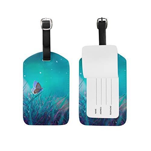 Chic Houses Etiquetas de equipaje de viaje coloridas con diseño de mariposa, con correa negra 2031544
