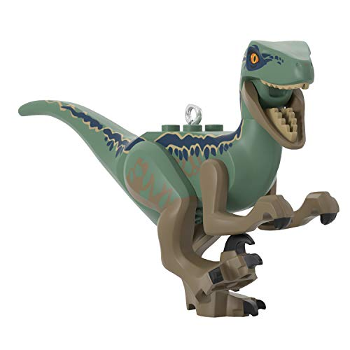 Hallmark Keepsake Christmas Ornament 2020, LEGO Jurassic World Velociraptor Blue