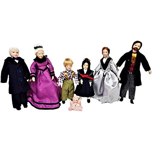 Melody Jane Puppenhaus Viktorianisch Familie mit 7 People Miniatur Porzellan Figuren