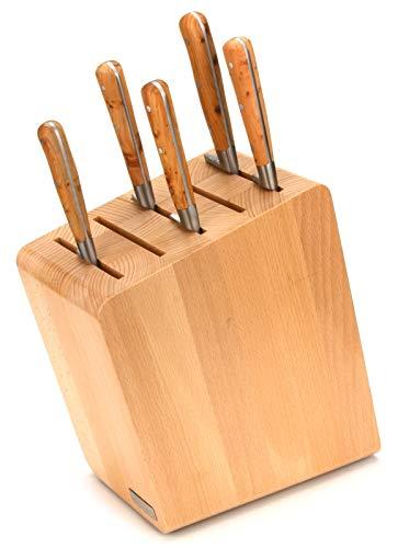 Laguiole en Aubrac Kochmesser Set 5-teilig - Küchenmesser Frankreich - Griff Wacholder - Messerblock magnetisch Artelegno Verona Buche