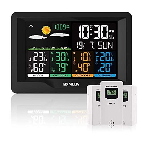Qxmcov Wetterstation Funk mit Außensensor, Multifunktionale Wetterstation mit 3 Außensensor, Thermometer, Hygrometer, Digital-Wecker,DCF-Funkuhr für Zuhause Büro Hausgarten Innen und Außen
