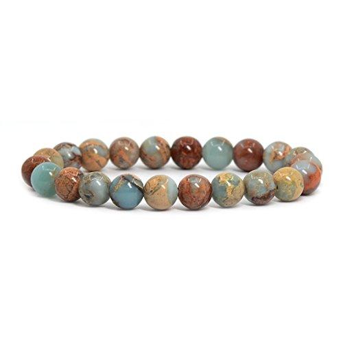 Justinstones Natural Serpentine Gemstone 8mm Round Beads Stretch Bracelet 7 Inch Unisex