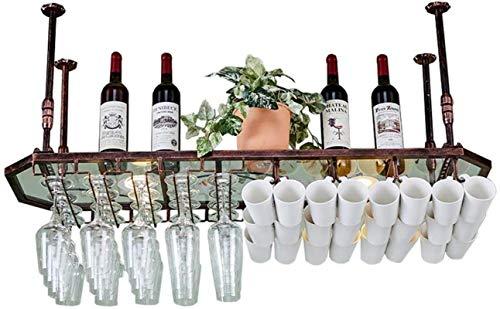 NYDZDM glaspaneel met voet, voor plafondmontage, om op te hangen, wijnfles, metalen eenheid, Goblet, opbergen, drijvende planken, bars, keuken, decoratie, mok, organizer