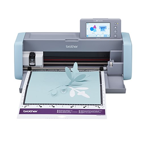 """Brother ScanNCut DX, SDX125, 5"""" LCD Touch Screen, Wireless Network Ready, 600 DPI Scanner, 682 Built-in Designs Home Electronic Cutting Machine Grey/Aqua"""