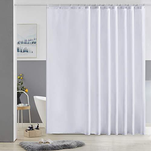 Furlinic Duschvorhang Überlänge Badvorhang Anti-schimmel für Dusche und Badewanne Textile Vorhänge aus Stoff Antibakteriell Wasserdicht Weiß Extra Breit 275x180cm mit 18 Duschringen.