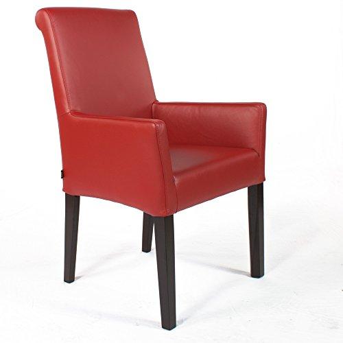 EMAN Möbelvertrieb Armlehnstuhl Galdo Leder Rot Beine Wenge | Ledersessel Lederstuhl Sessel