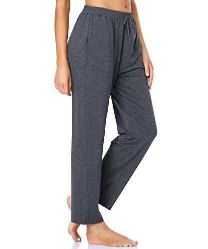 ASIMOON Pantalones de yoga casuales para mujer, sueltos, cómodos, cómodos, suaves, elásticos, de pierna ancha, pantalones de ocio con bolsillos para mujer, A1-gris oscuro, M