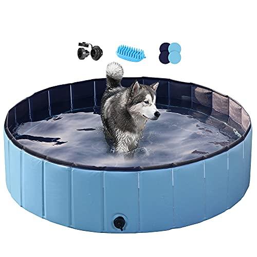 Yaheetech Blue Foldable Hard Plastic Dog Pet Bath Swimming Pool Collapsible...