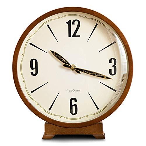 Relojes De Sobremesa, Reloj De Mesa De Madera Maciza Vintage, Sala De Estar, Redondo, Retro, Creativo, Antiguo, Reloj De Escritorio, Estantería para Escritorio De Oficina, 27X25X30Cm