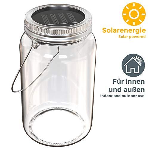 Lampada solare a forma di barattolo, Lanterna LED in vetro per creare decorazioni personalizzate, Luce per cene e serate all'aperto, da appoggiare sul tavolo o appendere durante le feste, IP44