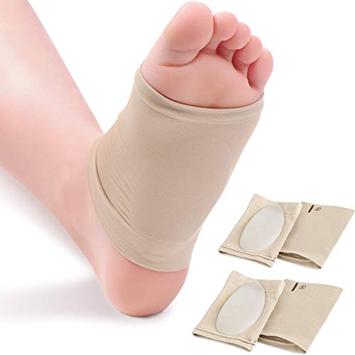 Ailaka 2 Pairs Compression Arch Support Sleeves, Cushioned Arch Support Braces Gel Pads for Flat Foot Pain Relief Plantar Fasciitis Heel Spurs