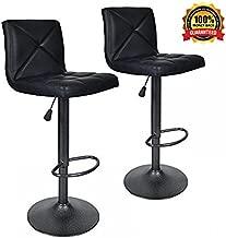 Dkeli Bar Stools, Modern Black PU Leather Barstools with Back Adjustable Counter Height Swivel Bar Stool, Set of 2 (Black)