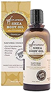 Out of Africa Shea Butter Body Oil - Vanilla Scented (9 oz Bottle); All-Natural Moisturizing Oil for Skin Care and Massage