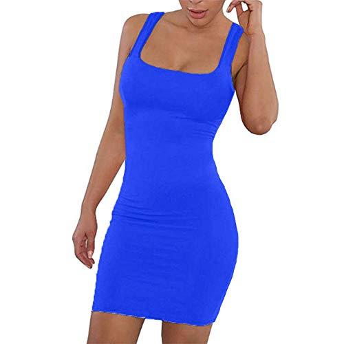 Vestidos De Fiesta Vestir Dress Mujer Niña Vestido Sólido Sexy Cuello Cuadrado Casual Ajustado con Hombros Descubiertos Vestido Corto Elástico Mujer-Blue_L