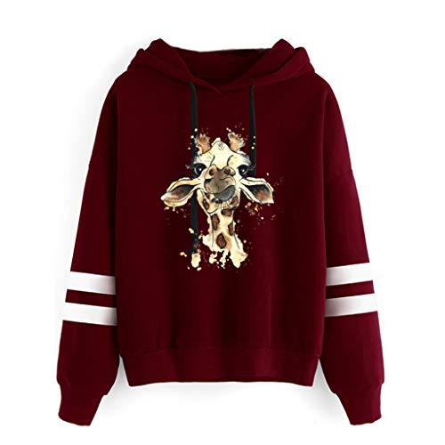 HOTHONG Sweatshirt Hoodies Femme Sweat à Capuche Pull à Col Rond Tops Blouse Shirt à Manches Longues Et Imprimé Girafe DéContracté Veste