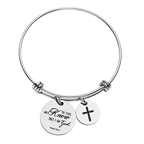 omodofo Psalm 46 10 Christian Theme The Bible Verse Religious Inspirational Quote Bangle Be Still and Know That I Am God Scripture Bracelet