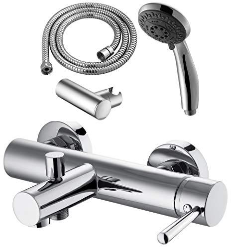 GRIFERIAS BORRÁS - SERIE MIL - Grifo baño y ducha Monomando MIL0343C - pack con flexo, soporte pared y manual , Cromo - Instalación Baño