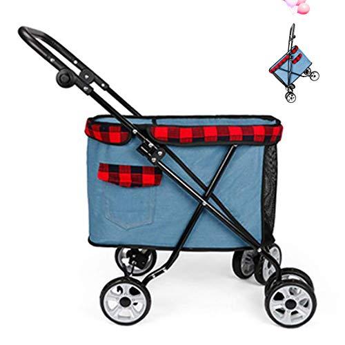 GLZKA huisdier kinderwagen met vier wielen kleine denim inklapbare winkelwagen hond rolstoel afneembaar buiten reizen Slip veiligheid
