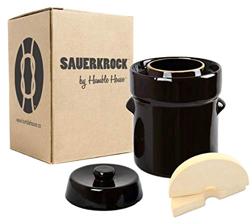 Humble House SAUERKROCK Fermentation Crock with Glazed Weights - 2 Liter (0.5 Gallon) German-Style Water Sealed Jar in Traditional Brown for Fermenting Sauerkaut, Kimchi, Pickles and More