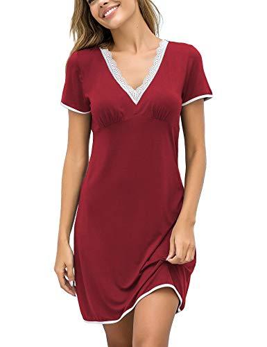 UNibelle - Camicia da Notte da Donna, a Maniche Corte, con Scollo a V, in Cotone Rosso Vivo M