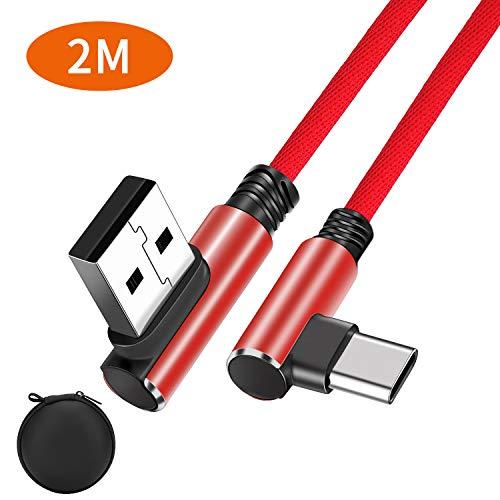 Relangce USB Type C Kabel 2M Dual 90 Grad Winkelstecker, 3A USB C Schnellladekabel Kompatibel für Samsung Galaxy S10 S9 S8 A40 A50 M20 Note 9/8 Huawei P30 P20 Xiaomi Redmi Note 7, Nintendo Switch Rot