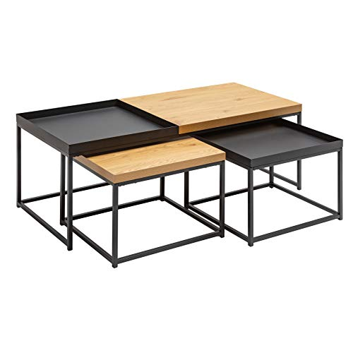 riess-ambiente.de Industrial Couchtisch 3er Set LOFT 120cm Eichenoptik abnehmbares Tablett Wohnzimmertische Tisch