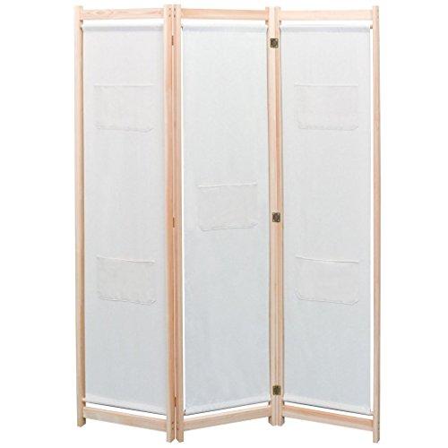 vidaXL Biombo Divisor de 3 Paneles de Tela cremqa 120x170x4 cm