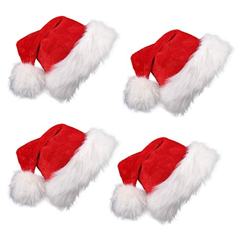 VEYLIN 4 Pieces Father Christmas Hat Red Santa Hats for Children Adults Thickened Warm Christmas Party Hats