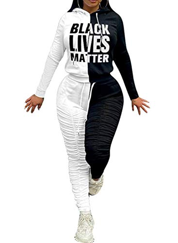 CORAFRITZ Damen-Trainingsanzug-Set, langärmelig, Farbblockdruck, mit Kapuze, gerüscht, Kordelzug, Hose, Loungewear-Set Gr. Large, weiß