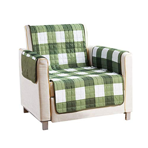 Quick Fit - The Original Plaid Gingham Checkered Reversible Water Resistant Furniture Cover for Dogs, Kids, Pets Sofa Slipcover for Couch, Recliner, Loveseat or Chair (Chair: Sage Green)