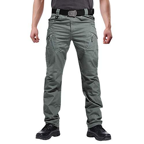 FEDTOSING Cargohose Herren Vintage Militär Tactical Hosen mit Stretch Arbeitshose Outdoor Viele Taschen Leichte Baumwolle(EUGreen XL)