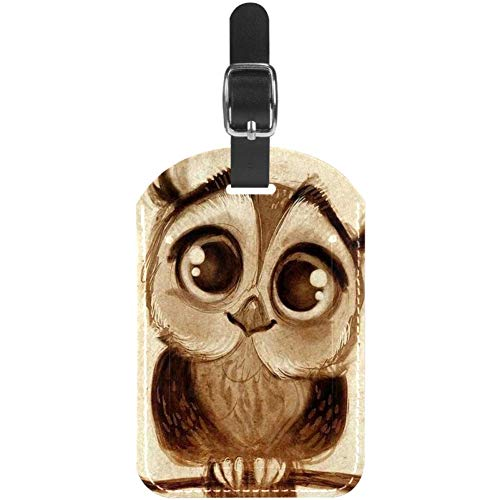 Luggage Tags Owl On Branch Leather Travel Suitcase Labels 1 Packs