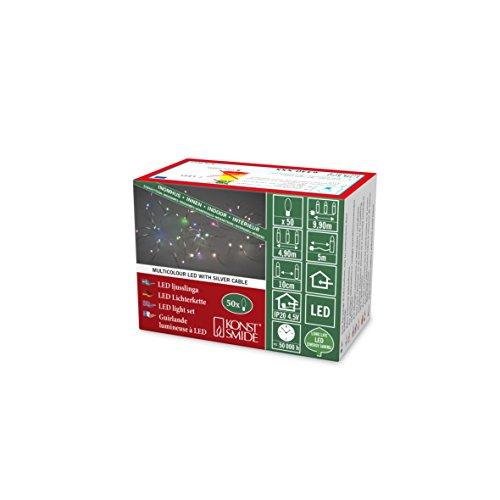 Konstsmide 6330-590 - Cadena de luz LED (IP20, 50 diodos RGB Que cambian de Color Lento, Transformador Interior de 4,5 V, Cable Plateado)