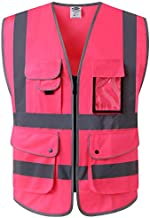 JKSafety 9 Pockets Class 2 High Visibility Zipper Front Safety Vest With Reflective Strips, Meets ANSI/ISEA Standards (XX-Large, Pink)