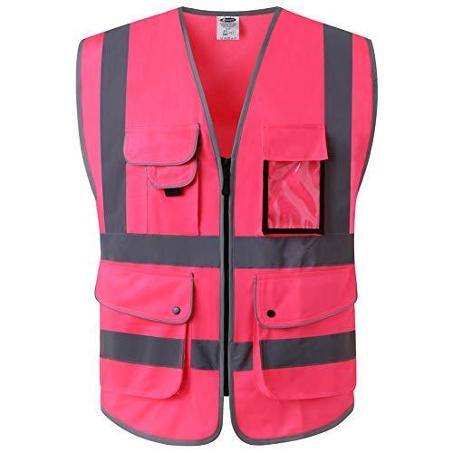 JKSafety Nueve bolsillos Nivel 2 Uniforme trabajo Chaleco con cremallera-Chaleco reflectante fluorescente-Chaleco de segurida Rosa(Large)