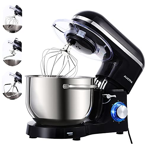 Aucma Stand Mixer, 1400W Food Mixer with 6.2 L Stainless Steel Mixing Bowl, 6 Speed Tilt-Head Stand Mixers for Baking (Black)