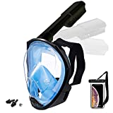 Foldable Full face Snorkeling mask with New Safety Breathing System, 180-degree Panoramic View, Waterproof and Anti-Fog, with Camera Stand, Universal Snorkeling mask(L/XL)