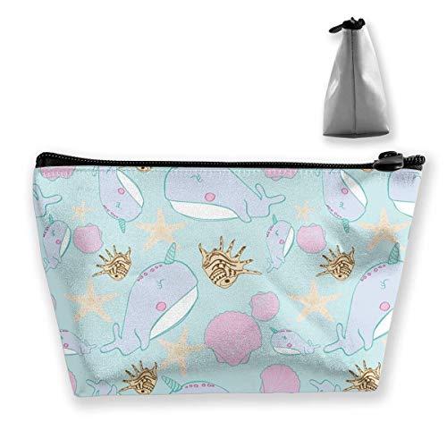 Trousse à maquillage tendance avec motif étoile de mer et coquillage, licorne, narbalin, trousse de toilette, organiseur de crayons, sac à main