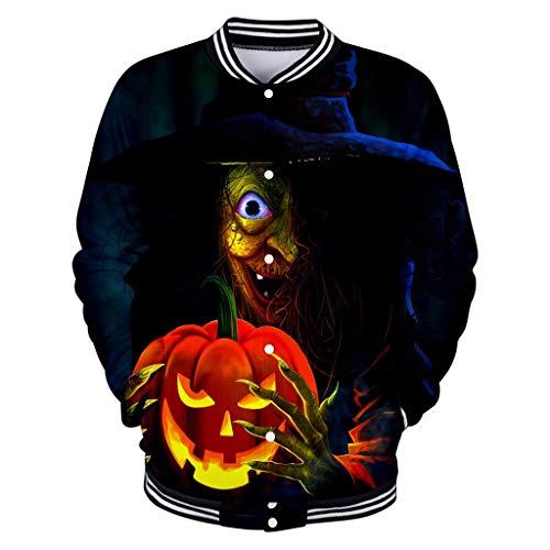 ZuzongYr - Camisetas de hombre para Halloween, parejas, uniformes de béisbol, moda con impresión 3D, luz de calabaza de manga larga, abrigo, blusa, chaqueta para hombre y mujer Negro XS